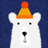 Cute fluffy white polar bear in a hat for design of T-shirts, cards, greetings, postcards, vector illustration in cartoon style. Great design for any purposes royalty free stock photo