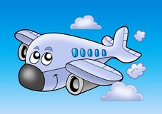 Cute flying airplane Stock Images