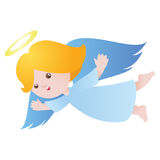 Cute flying angel. Little cute flying angel isolated on white. Vector illustration Stock Image