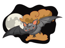 Cute flying bat in Clouded Night with Moon, Vector Illustration Stock Images