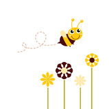 Cute flying Bee with flowers. Adorable spring Bee flying around flowers. Vector stock illustration