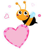 Cute flying Bee holding pink heart stock illustration