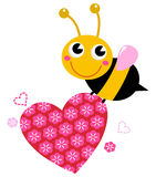 Cute flying bee with pink love heart. Bee with pink floral heart. Vector cartoon Illustration Royalty Free Stock Image