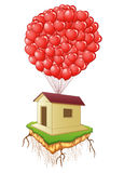 Cute flying house with red heart balloons Stock Photo