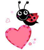 Cute flying Ladybug holding heart Royalty Free Stock Image