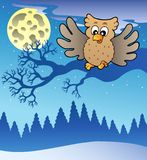 Cute flying owl in snowy landscape Stock Photo