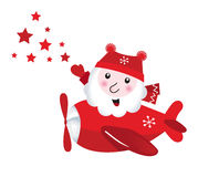 Cute flying Santa touching christmas Stars Royalty Free Stock Images
