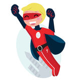 Cute flying superhero boy with city. Red superhero boy fighting with fist. Vector cartoon Illustration Royalty Free Stock Image