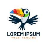Cute Flying Toucan Bird Logo Template royalty free illustration