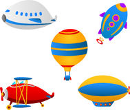 Cute flying vehicles Royalty Free Stock Images