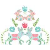 Cute folk design rabbits in beautiful flowers. Cute folk design rabbits in beautiful flowers Royalty Free Stock Image