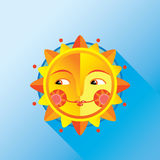 Cute folk sun on a blue background Royalty Free Stock Image
