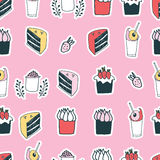 Cute food cake muffin cupcake strawberry delicious dessert seamless pattern Stock Photography