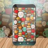 Cute food pattern on smart phone. Stock Photos
