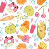 Cute food seamless pattern Royalty Free Stock Images