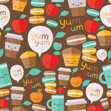 Cute food seamless pattern. Stock Photography