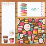 Cute food set of vector design element. stock illustration