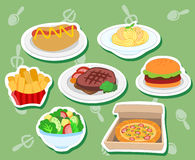 Cute food stickers01 Stock Photography