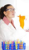 Cute food technologist Royalty Free Stock Photography