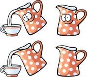 Cute foods - red milk jug. Cute foods characters set - red milk jug Stock Images