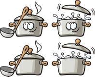 Cute foods - soup pan. Cute foods characters set - soup pan Stock Photos