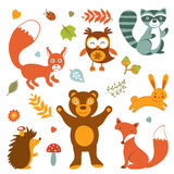 Cute forest animals colorful collection. Vector illustration Stock Photos