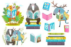 Smart Animals Reading Books Set. Cute forest animals friends with books studying. Vector illustration royalty free illustration