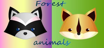 Cute forest animals on a gradient background - a raccoon and squirrel. Collection of cute greeting cards - forest animals. Sketch of cartoon raccoon on color Royalty Free Stock Photo