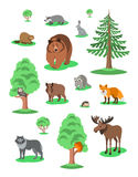 Cute forest animals kids cartoon illustration Stock Photos
