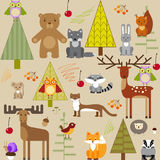 Cute forest animals on light background stock illustration
