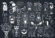 Cute forest animals set - chalkboard style. Royalty Free Stock Photography