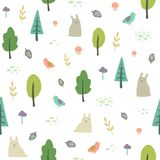 Cute forest background. Vector seamless pattern. Stock Photography