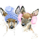 Cute forest deer T-shirt graphics, watercolor deer illustration. With splash watercolor textured background. illustration watercolor winter deer for fashion Stock Image