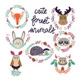 Cute forest elements animals and plants Vector Illustration