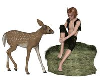 Cute Forest Elf Boy or Faun, with a Young Deer Stock Images