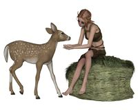 Cute Forest Elf or Faun, with a Young Deer Royalty Free Stock Photos
