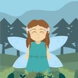 Forest fairy cartoon stock illustration