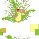 Cute forest nice mushrooms in fern grass and ladybird. Vector illustration vector illustration