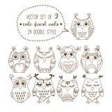 Cute forest owls vector illustration set Stock Image