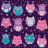 Cute forest owls vector seamless pattern. Hand drawn lovely birds background in colors of purple, blue and pink Stock Photos