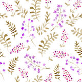 Cute forest repeating pattern: ditsy flowers, leaves, grasses. Seamless floral background for fashion design. Watercolor Royalty Free Stock Photos