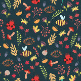 Cute forest seamless pattern. Forest seamless pattern with cute herbs, flowers, mushrooms and bugs. Vector illustration on dark background Stock Images