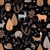 Cute forest seamless pattern with raccoon and other animals in childish cartoon style. Vector illustration, pastel palette stock illustration