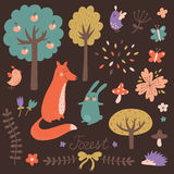 Cute forest vector set Royalty Free Stock Photo