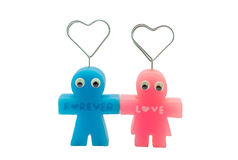 Cute Forever Love Couple Doll Magnetic Isolated/ White Background Royalty Free Stock Photos