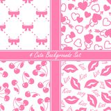 Cute four seamless set, pink Stock Photo