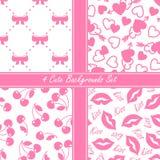 Cute four seamless set, pink Stock Photo