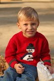 Cute four year old boy in Christmas sweater royalty free stock image
