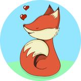 Cute fox adorable cartoon vector illustration. Smiling baby animal foxy orange fur isolated on white background Royalty Free Stock Image