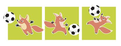 Cute fox animal mascot with soccer ball vector illustration Royalty Free Stock Images